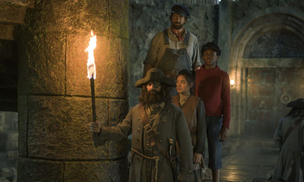Shoot Day 39 of 53; Sc 90; Land That Must Not Be/ Dome of Rock: Pirates take positions at doors, Jim (SOLOMON GORDON), Luke (HENNING BAUM) and Li Si (LEIGHANNE ESPERANZATE) leave them behind.